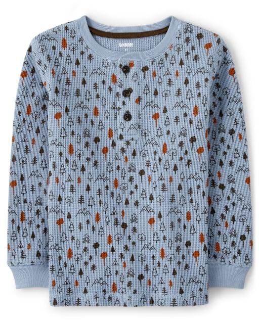 Camiseta henley de manga larga con estampado de bosque para niños - Critter Camp
