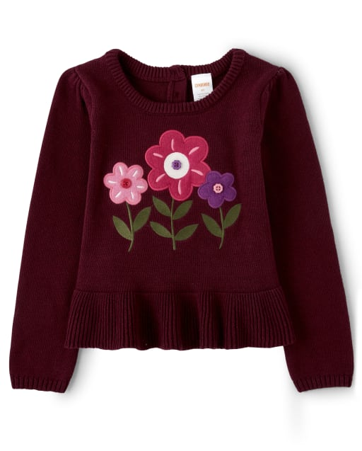 Jersey niña manga larga bordado floral y peplum con botones - Tree House