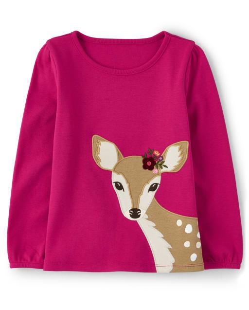 Top de manga larga con parche bordado de ciervos y flores para niñas - Tree House