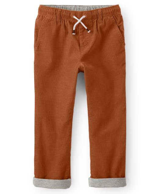 Boys Roll Up Pull On Corduroy Pants - Harvest
