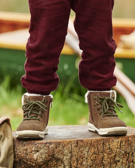 Boys Faux Leather Sherpa Hiking Boots - Critter Campout