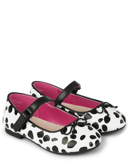 Girls Spotted Print Faux Leather Ballet Flats - Dalmatian Friends