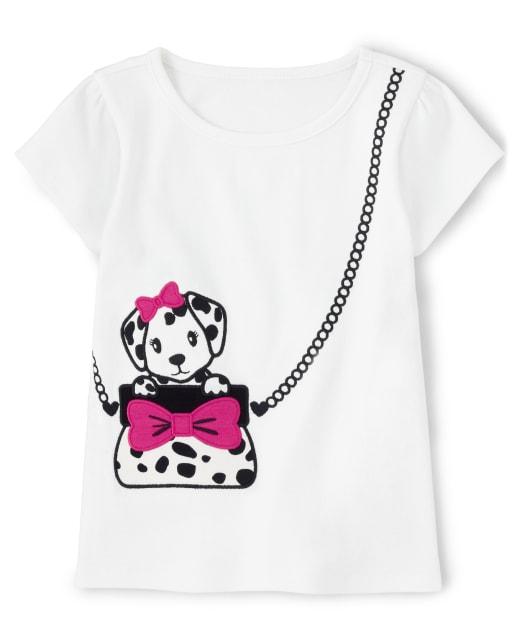 Blusa de manga corta para niñas con bordado de perrito dálmata - Dalmatian Friends