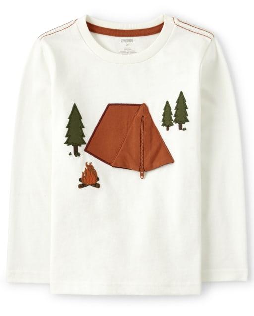 Camiseta de manga larga con diseño bordado con solapa Peek-A-Boo para niños - Critter Campout