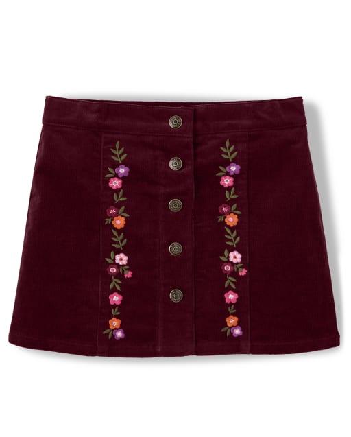 Falda de pana de flores bordada para niñas - Tree House
