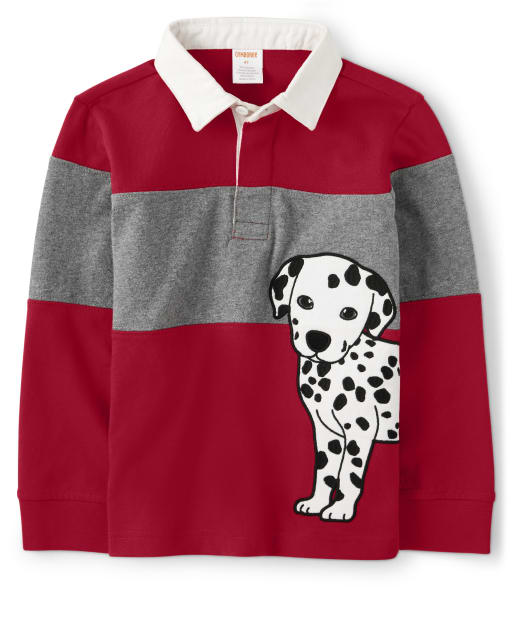 Boys Long Sleeve Embroidered Dalmatian Colorblock Polo - Fire Chief