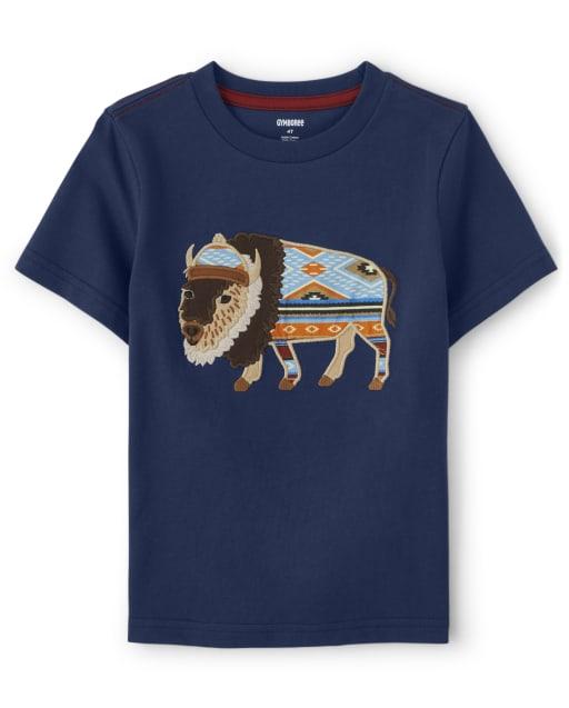 Boys Short Sleeve Embroidered Bison Top - Western Skies