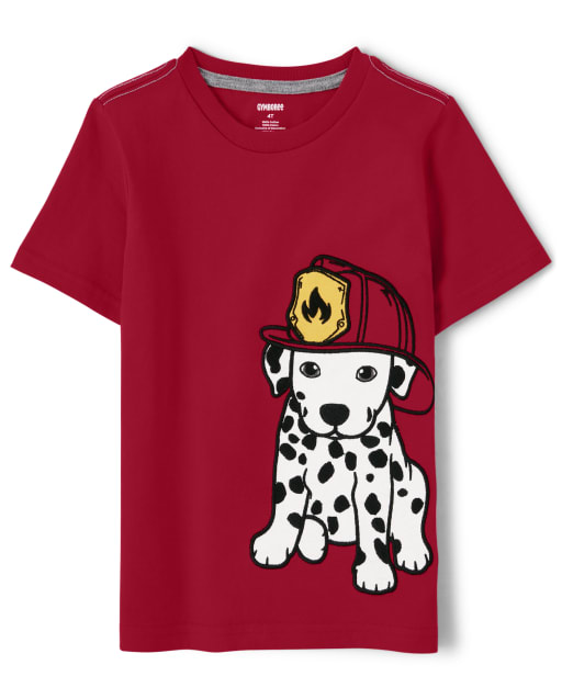 Boys Short Sleeve Embroidered Dalmatian Top - Fire Chief