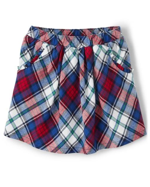 Falda pantalón de sarga a cuadros para niñas - Favorito del '