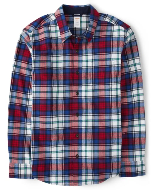 Camisa con botones de sarga a cuadros de manga larga a juego para hombre - Favorito del '