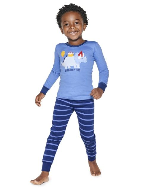 Pijama de 2 piezas de algodón con ajuste ceñido de dinosaurio de cumpleaños de manga larga para niños - Gymmies