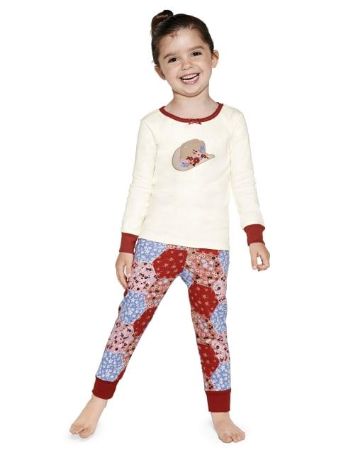 Pijama de 2 piezas de algodón con ajuste ceñido estilo vaquera de manga larga para niñas - Gymmies