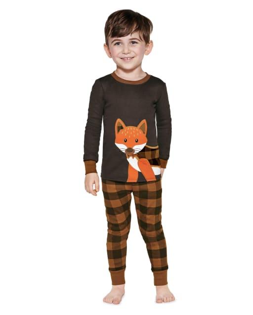 Boys Long Sleeve Plaid Fox Snug Fit Cotton 2-Piece Pajamas - Gymmies
