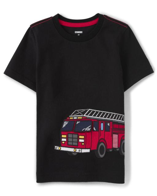 Camiseta de camión de bomberos bordada de manga corta para niños - Jefe de bomberos