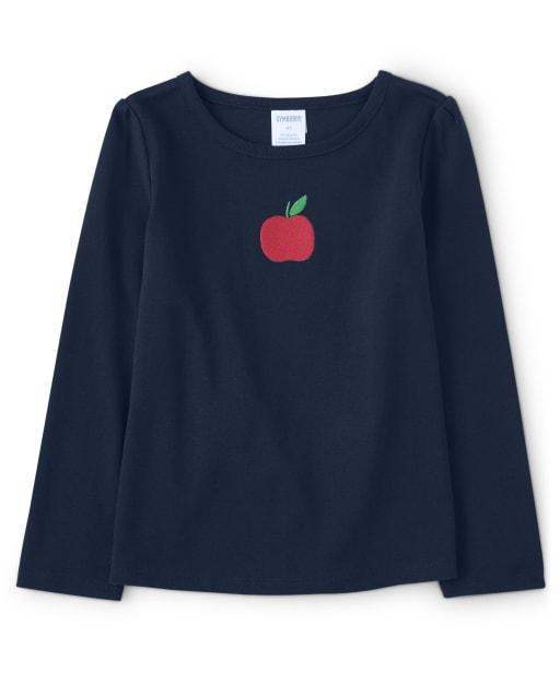 Top de manzana bordado de manga larga para niñas - Favorito del '