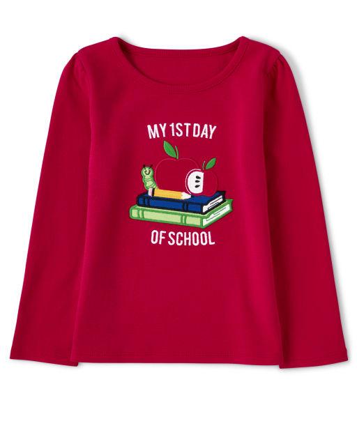 Camiseta de manga larga bordada para niñas ' Mi primer día de clases ' - Favorito del '