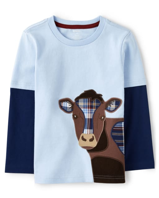 Boys Long Sleeve Embroidered Cow Layered Top - Western Skies