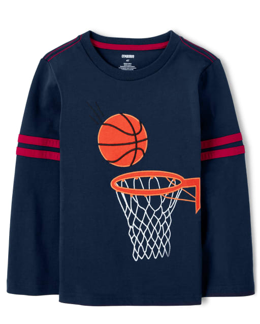 Camiseta de baloncesto bordada con manga larga a rayas para niños - Future MVP