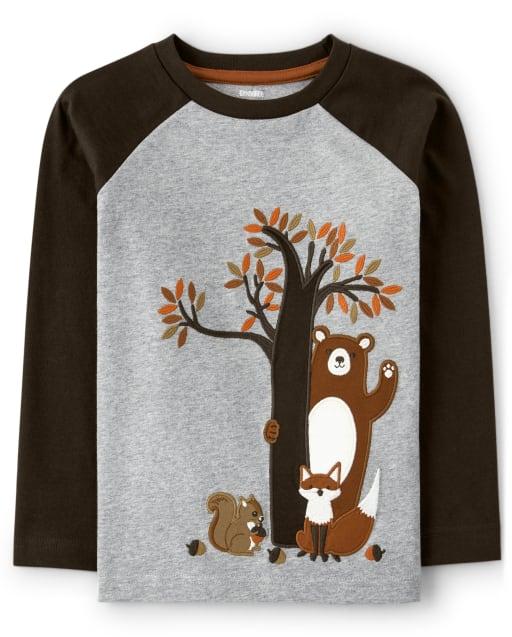 Camiseta raglán de manga larga con osos bordados para niño - Harvest