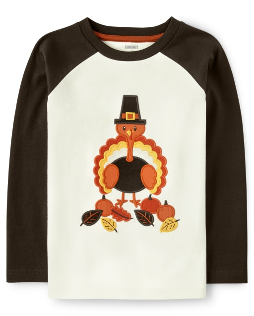 Camiseta raglán de pavo bordada de manga larga para niño - Harvest