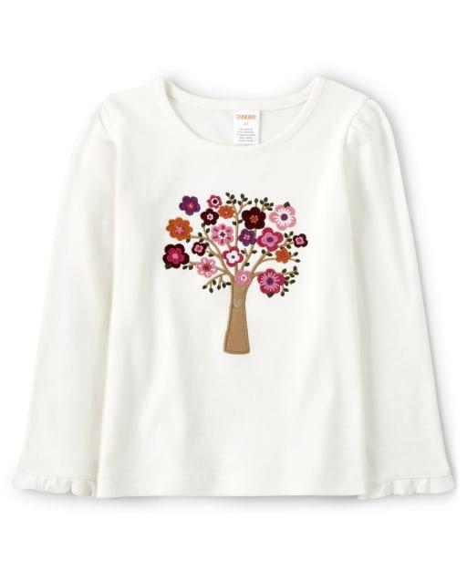 Top de árbol de flores bordado de manga larga para niñas - Tree House