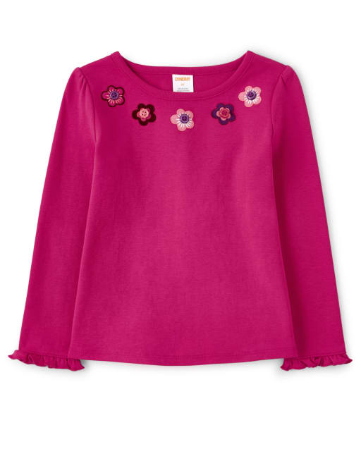 Camiseta de manga larga con botones y flores bordadas para niñas - Tree House