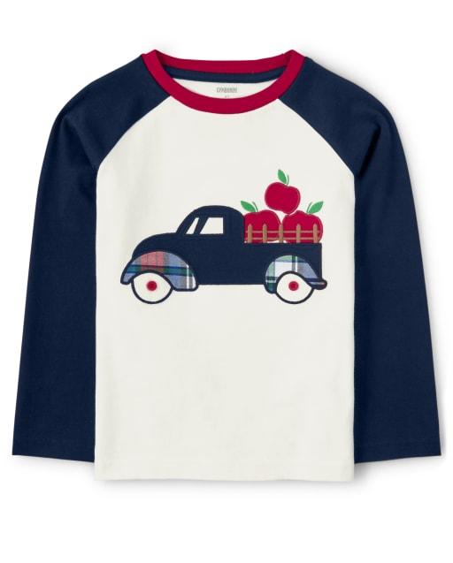 Camiseta raglán Apple Truck bordada de manga larga para niños - Favorito del '
