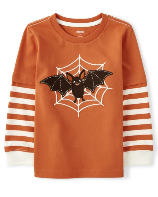 Boys Long Striped Sleeve Embroidered Bat Layered Top - Lil Pumpkin