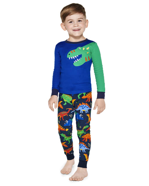 Boys Long Sleeve Dino Snug Fit Cotton 2-Piece Pajamas - Gymmies