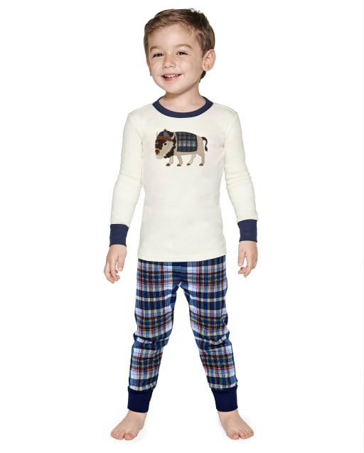 Boys Long Sleeve Plaid Bison Snug Fit Cotton 2-Piece Pajamas - Gymmies