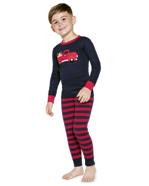 Baby And Toddler Boys Long Sleeve Apple Truck Snug Fit Cotton Pajamas
