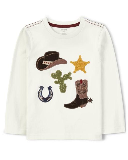 Boys Long Sleeve Embroidered Cowboy Top - Western Skies