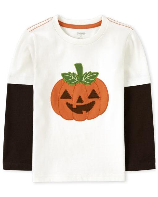 Boys Long Sleeve Embroidered Jack-O-Lantern Layered Top - Lil Pumpkin