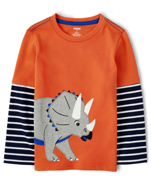 Boys Long Sleeve Embroidered Triceratops Layered Top - Dino Dude