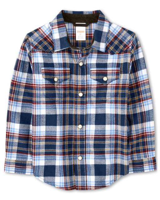 Boys Long Sleeve Plaid Twill Button Up Shirt - Western Skies