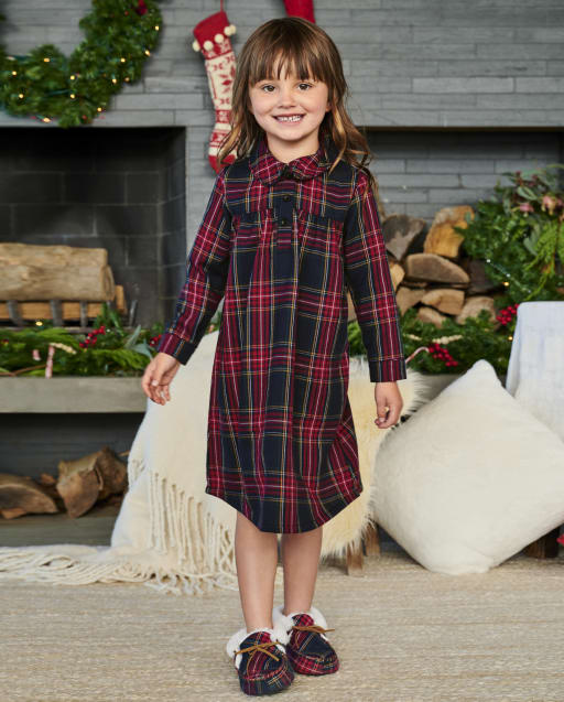 Girls Matching Family Long Sleeve Plaid Flannel Nightgown - Gymmies