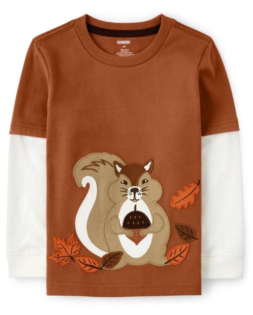 Camiseta con capas de ardilla bordada para niños - Harvest