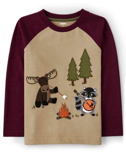 Camiseta raglán de camping de manga larga bordada para niños - Critter Campout