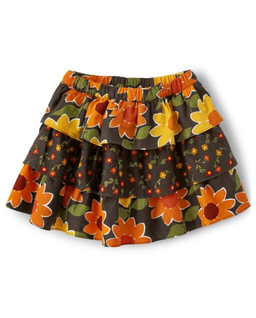 Falda pantalón niña de franela escalonada con estampado de girasoles - Harvest