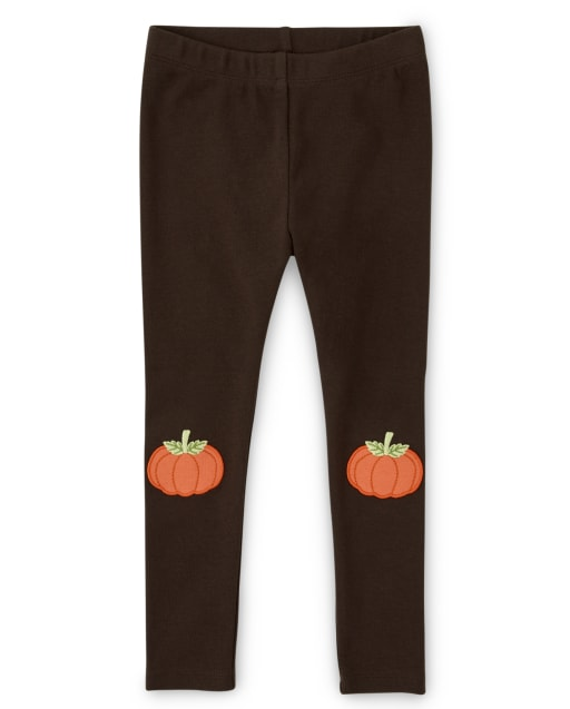 Leggings de punto con parche de calabaza bordados para niñas - Lil Pumpkin