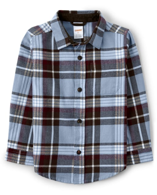 Boys Long Sleeve Plaid Twill Button Up Shirt - Critter Campout