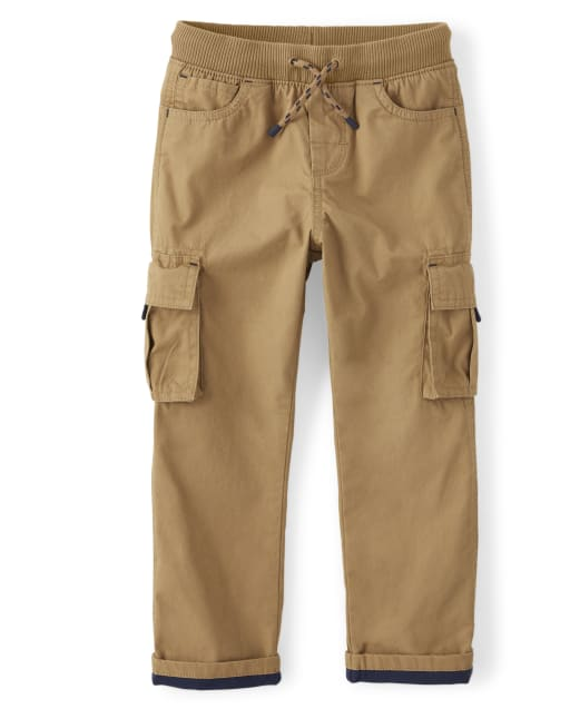 Boys Roll Up Woven Pull On Cargo Pants