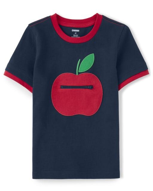 Top con parche de manzana bordado con cremallera Peek-A-Boo de manga corta para niños - Favorito del '
