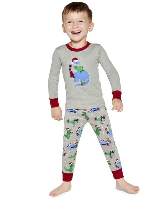 Boys Long Sleeve Christmas Dino Snug Fit Cotton 2-Piece Pajamas - Gymmies