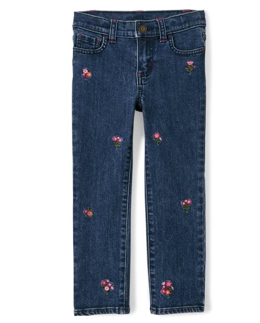 Jeans niña bordados florales - Tree House