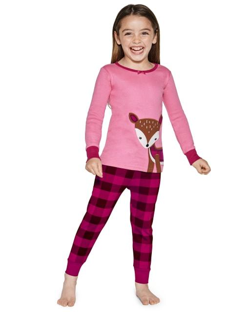 Pijama de 2 piezas de algodón con estampado de ciervo a cuadros de manga larga para niñas - Gymmies