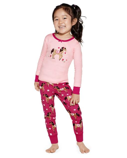 Girls Long Sleeve Horse Snug Fit Cotton 2-Piece Pajamas - Gymmies