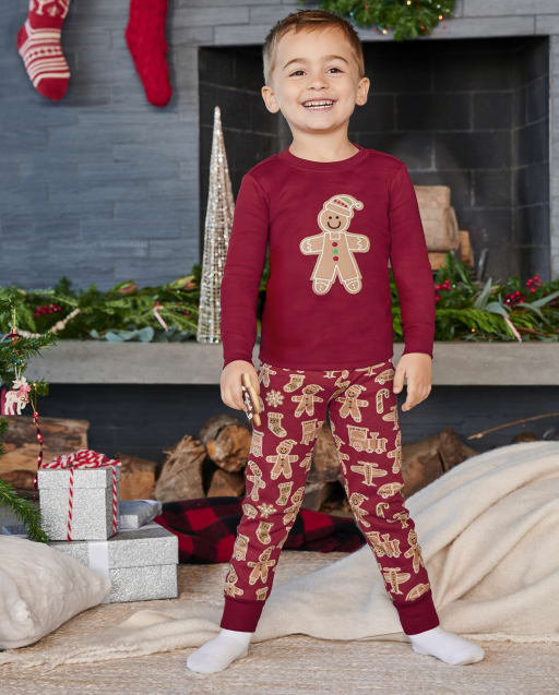 Boys Long Sleeve Gingerbread Snug Fit Cotton 2-Piece Pajamas - Gymmies