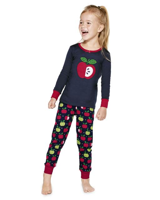 Girls Long Sleeve Apple Cotton 2-Piece Pajamas - Gymmies