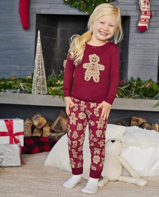 Girls Long Sleeve Gingerbread Snug Fit Cotton 2-Piece Pajamas - Gymmies
